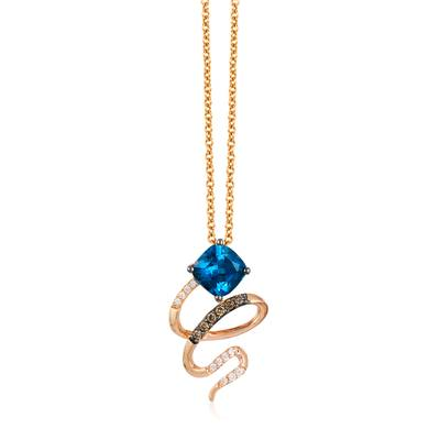 14K Strawberry Gold® Deep Sea Blue Topaz™ 1  1/6 cts. Pendant with Chocolate Diamonds® 1/20 cts., Vanilla Diamonds® 1/20 cts. | YQTS 25