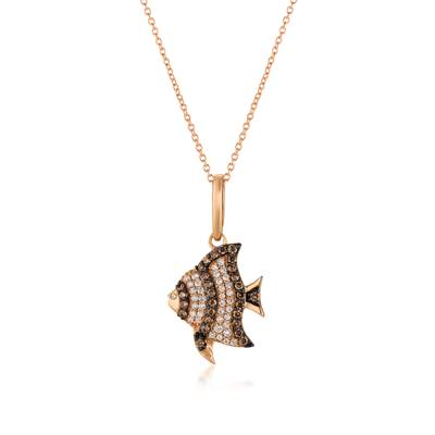 14K Strawberry Gold® Pendant with Chocolate Diamonds® 1/5 cts., Vanilla Diamonds® 1/5 cts. | YQTT 2