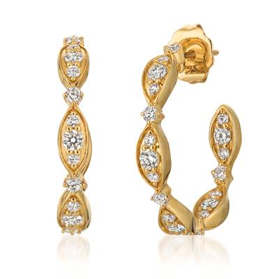 14K Honey Gold™ Earrings with Vanilla Diamonds® 3/4 cts. | YQUR 37