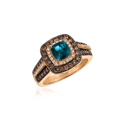 14K Strawberry Gold® Deep Sea Blue Topaz™ 1 cts. Ring with Chocolate Diamonds® 5/8 cts., Vanilla Diamonds® 1/6 cts. | YQUV 33