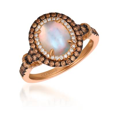 14K Strawberry Gold® Neopolitan Opal™ 1  1/5 cts. Ring with Chocolate Diamonds® 1/2 cts., Vanilla Diamonds® 1/5 cts. | YQUV 41