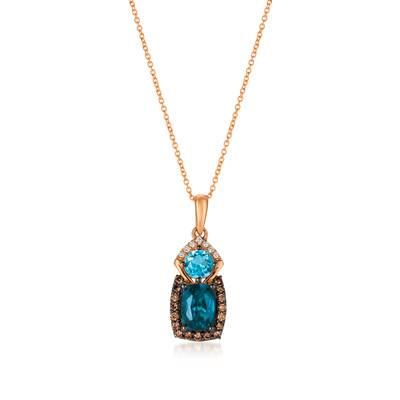 14K Strawberry Gold® Deep Sea Blue Topaz™ 1  1/2 cts., Blue Topaz 1/2 cts. Pendant with Chocolate Diamonds® 1/5 cts., Vanilla Diamonds®  cts. | YQUV 84
