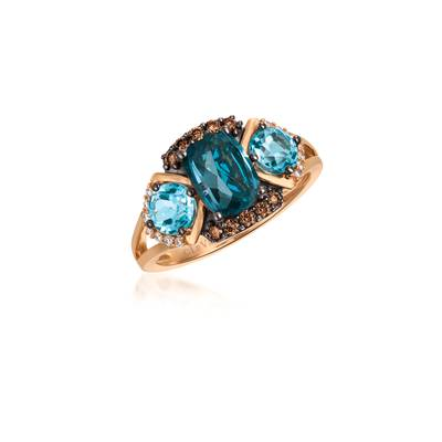 14K Strawberry Gold® Deep Sea Blue Topaz™ 1  1/2 cts., Blue Topaz 1 cts. Ring with Chocolate Diamonds® 1/6 cts., Vanilla Diamonds® 1/15 cts. | YQUV 85
