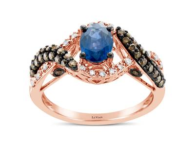 14K Strawberry Gold® Blueberry Sapphire™ 3/4 cts. Ring with Chocolate Diamonds® 3/8 cts., Vanilla Diamonds® 1/10 cts. | YQUX 13