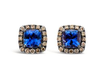 14K Strawberry Gold® Blueberry Tanzanite® 1  7/8 cts. Earrings with Chocolate Diamonds® 1/2 cts. | YQUX 9