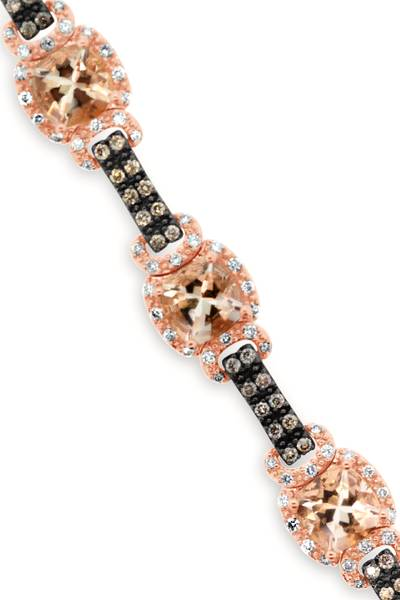 14K Strawberry Gold® Peach Morganite™ 6  1/5 cts. Bracelet with Chocolate Diamonds® 5/8 cts., Vanilla Diamonds® 3/4 cts. | YQVK 24