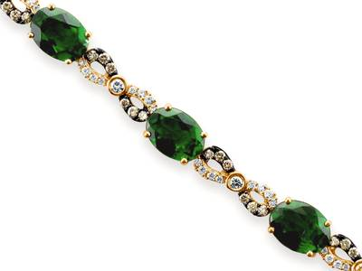 14K Honey Gold™ Pistachio Diopside® 9  7/8 cts. Bracelet with Vanilla Diamonds® 1/2 cts., Chocolate Diamonds® 1/2 cts. | YQVK 52