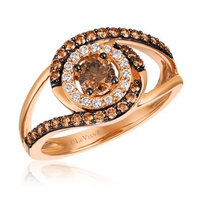 14K Strawberry Gold® Ring with Chocolate Diamonds® 5/8 cts., Vanilla Diamonds® 1/10 cts. | YQVL 22