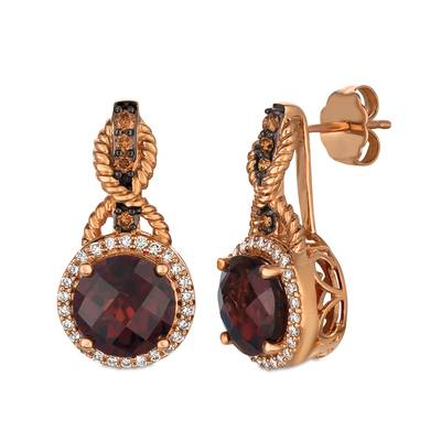 14K Strawberry Gold® Pomegranate Garnet™ 4  1/2 cts. Earrings with Chocolate Diamonds® 1/8 cts., Vanilla Diamonds® 1/4 cts. | YQVQ 60