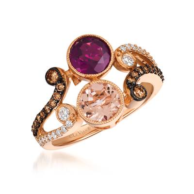 14K Strawberry Gold® Raspberry Rhodolite® 1 cts., Peach Morganite™ 1/2 cts. Ring with Chocolate Diamonds® 1/4 cts., Vanilla Diamonds® 1/5 cts. | YQVT 96