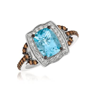 14K Vanilla Gold® Sea Blue Aquamarine® 1  5/8 cts. Ring with Vanilla Diamonds® 1/4 cts., Chocolate Diamonds® 1/3 cts. | YQVW 57