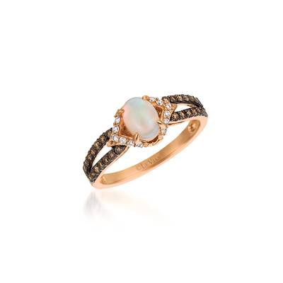 14K Strawberry Gold® Neopolitan Opal™ 3/8 cts. Ring with Vanilla Diamonds® 1/10 cts., Chocolate Diamonds® 1/4 cts. | YQWA 35