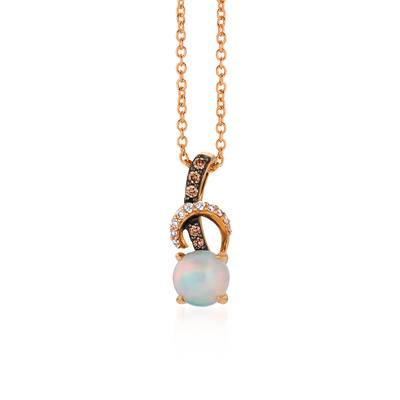 14K Strawberry Gold® Neopolitan Opal™ 1/2 cts. Pendant with Chocolate Diamonds® 1/20 cts., Vanilla Diamonds® 1/20 cts. | YQWA 36