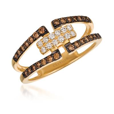 14K Honey Gold™ Ring with Chocolate Diamonds® 1/3 cts., Vanilla Diamonds® 1/8 cts. | YQWF 5