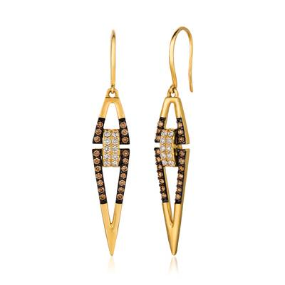 14K Honey Gold™ Earrings with Vanilla Diamonds® 1/5 cts., Chocolate Diamonds® 3/8 cts. | YQWF 7