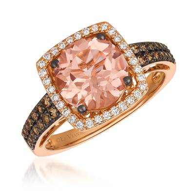 14K Strawberry Gold® Peach Morganite™ 2 cts. Ring with Chocolate Diamonds® 1/4 cts., Vanilla Diamonds® 1/6 cts. | YQWG 17