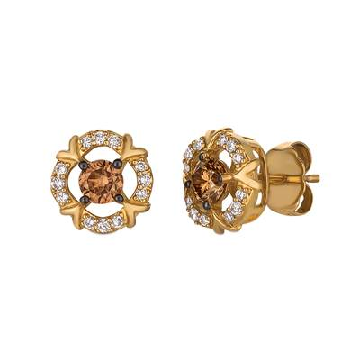 14K Honey Gold™ Earrings with Chocolate Diamonds® 1/2 cts., Vanilla Diamonds® 1/8 cts. | YQWK 14