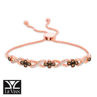 14K Strawberry Gold® Bolo Bracelet with Chocolate Diamonds® 3/8 cts., Vanilla Diamonds® 1/4 cts. | YQWV 46