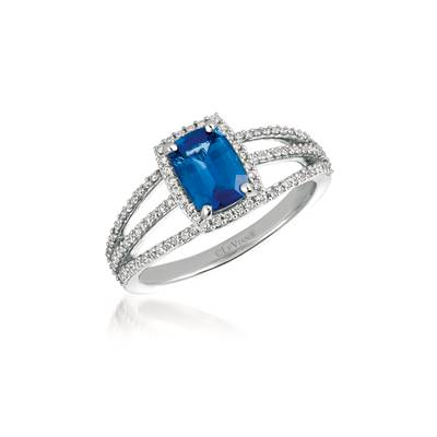 14K Vanilla Gold® Cornflower Ceylon Sapphire™ 1 cts. Ring with Vanilla Diamonds® 1/3 cts. | YQWW 72