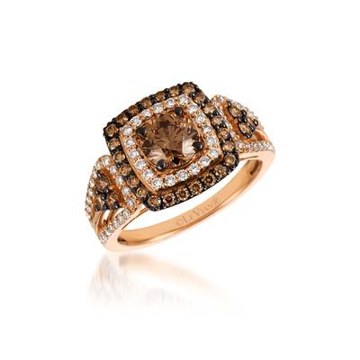 14K Strawberry Gold® Ring with Chocolate Diamonds® 1  1/3 cts., Vanilla Diamonds® 3/8 cts. | YQXC 118