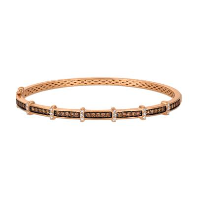 14K Strawberry Gold® Bangle with Chocolate Diamonds® 7/8 cts., Vanilla Diamonds® 1/5 cts. | YQXH 1