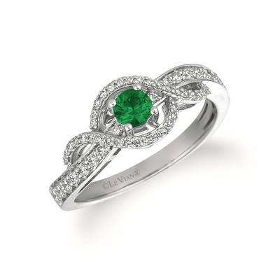 14K Vanilla Gold® New Emerald 1/5 cts. Ring with Vanilla Diamonds® 1/3 cts. | YQXM 22NE