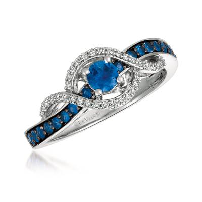 14K Vanilla Gold® Blueberry Sapphire™ 1/2 cts. Ring with Vanilla Diamonds® 1/8 cts. | YQXM 23
