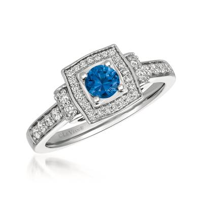 14K Vanilla Gold® Blueberry Sapphire™ 3/8 cts. Ring with Vanilla Diamonds® 1/3 cts. | YQXM 28