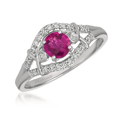 14K Vanilla Gold® Passion Ruby™ 1/2 cts. Ring with Vanilla Diamonds® 1/6 cts. | YQXM 33