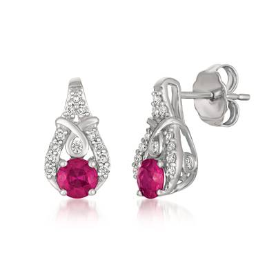 14K Vanilla Gold® Passion Ruby™ 1/2 cts. Earrings with Vanilla Diamonds® 1/6 cts. | YQXM 35