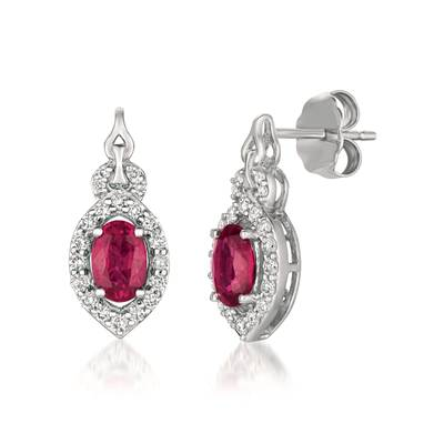 14K Vanilla Gold® Passion Ruby™ 1 cts. Earrings with Vanilla Diamonds® 1/4 cts. | YQXM 38