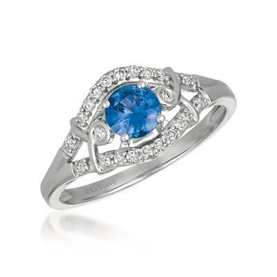 14K Vanilla Gold® Blueberry Sapphire™ 3/8 cts. Ring with Vanilla Diamonds® 1/6 cts. | YQXM 40