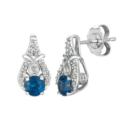 14K Vanilla Gold® Blueberry Sapphire™ 1/2 cts. Earrings with Vanilla Diamonds® 1/6 cts. | YQXM 42