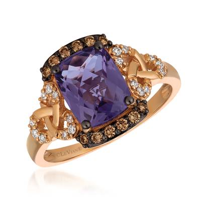 14K Strawberry Gold® Grape Amethyst™ 1  5/8 cts. Ring with Chocolate Diamonds® 1/6 cts., Vanilla Diamonds® 1/10 cts. | YQXM 6