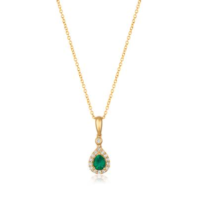14K Honey Gold™ Costa Smeralda Emeralds™ 1/3 cts. Pendant with Vanilla Diamonds® 1/10 cts. | YQXM 72