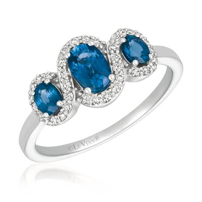 14K Vanilla Gold® Blueberry Sapphire™ 7/8 cts. Ring with Vanilla Diamonds® 1/5 cts. | YQXM 73