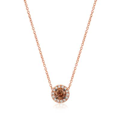 14K Strawberry Gold® Pendant with Chocolate Diamonds® 1/3 cts., Vanilla Diamonds® 1/10 cts. | YQXM 77