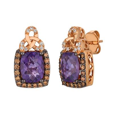 14K Strawberry Gold® Grape Amethyst™ 2  1/2 cts. Earrings with Chocolate Diamonds® 1/3 cts., Vanilla Diamonds® 1/15 cts. | YQXM 8