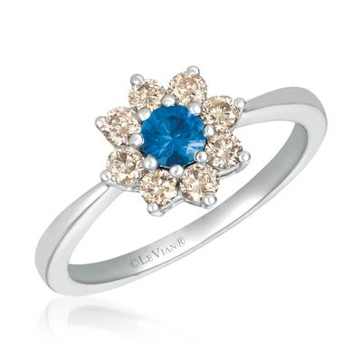 14K Vanilla Gold® Blueberry Sapphire™ 1/5 cts. Ring with Nude Diamonds™ 3/8 cts. | YQXM 82