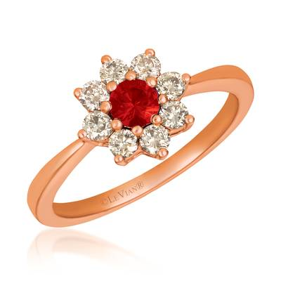 14K Strawberry Gold® Passion Ruby™ 1/4 cts. Ring with Nude Diamonds™ 3/8 cts. | YQXM 83