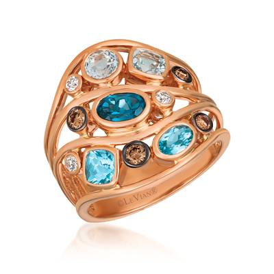 14K Strawberry Gold® Blue Topaz 1  1/6 cts., Deep Sea Blue Topaz™ 1/2 cts. Ring with Chocolate Diamonds® 1/6 cts., Vanilla Diamonds® 1/15 cts. | YQXM 86