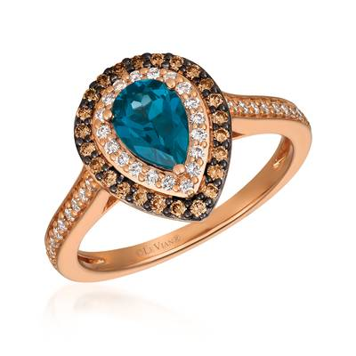 14K Strawberry Gold® Deep Sea Blue Topaz™ 5/8 cts. Ring with Chocolate Diamonds® 1/5 cts., Vanilla Diamonds® 1/5 cts. | YQXX 65