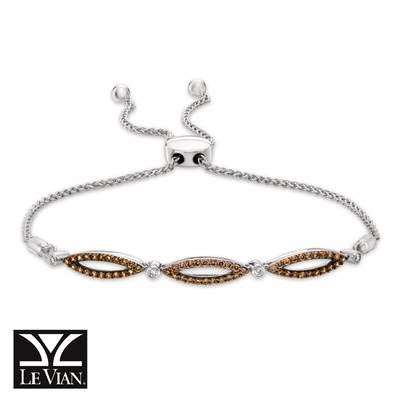 14K Vanilla Gold® Bolo Bracelet with Vanilla Diamonds® 1/15 cts., Chocolate Diamonds® 1/2 cts. | YQYB 37