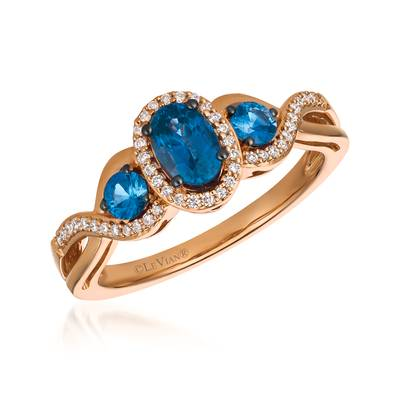 14K Strawberry Gold® Blueberry Sapphire™ 7/8 cts. Ring with Vanilla Diamonds® 1/8 cts. | YQYB 67