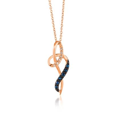 14K Strawberry Gold® Blueberry Sapphire™ 1/15 cts. Pendant with Vanilla Diamonds®  cts. | YQYB 68
