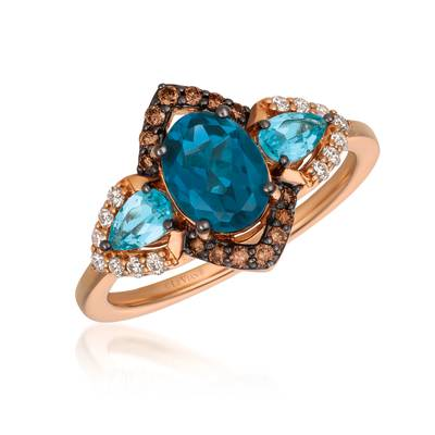 14K Strawberry Gold® Deep Sea Blue Topaz™ 1  1/3 cts., Blue Topaz 3/8 cts. Ring with Chocolate Diamonds® 1/8 cts., Vanilla Diamonds® 1/8 cts. | YQYI 50