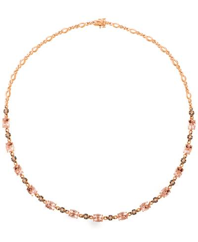 14K Strawberry Gold® Peach Morganite™ 11 1/5 cts. Necklace with Vanilla Diamonds® 1/3 cts., Chocolate Diamonds® 5/8 cts. | YQYJ 22