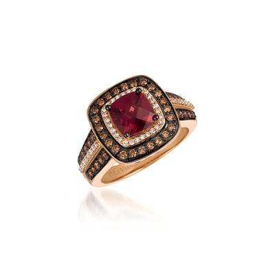 14K Strawberry Gold® Raspberry Rhodolite® 1  1/2 cts. Ring with Chocolate Diamonds® 1/2 cts., Vanilla Diamonds® 1/5 cts. | YQYL 3