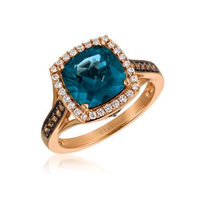 14K Strawberry Gold® Deep Sea Blue Topaz™ 3  3/8 cts. Ring with Chocolate Diamonds® 1/8 cts., Vanilla Diamonds® 1/5 cts. | YQYM 23