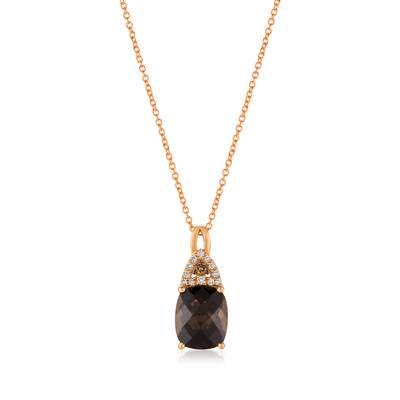 14K Strawberry Gold® Chocolate Quartz® 2  5/8 cts. Pendant with Chocolate Diamonds®  cts., Vanilla Diamonds® 1/15 cts. | YQYM 33
